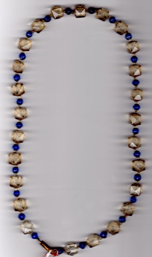 1930s Blue & Clear Glass Bead Necklace